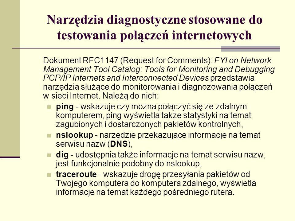 Narzędzia diagnostyczne stosowane do testowania połączeń internetowych
