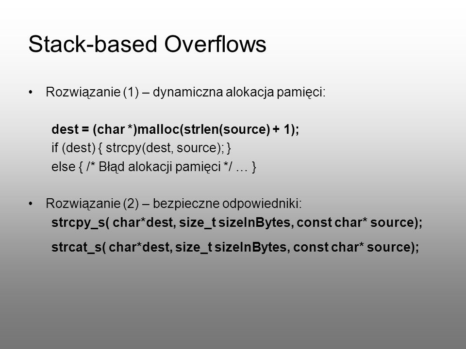 Stack-based Overflows