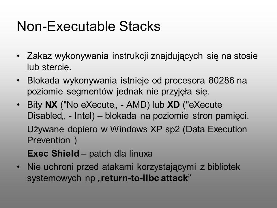 Non-Executable Stacks