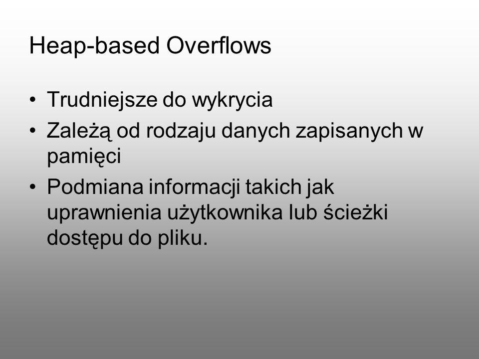 Heap-based Overflows Trudniejsze do wykrycia