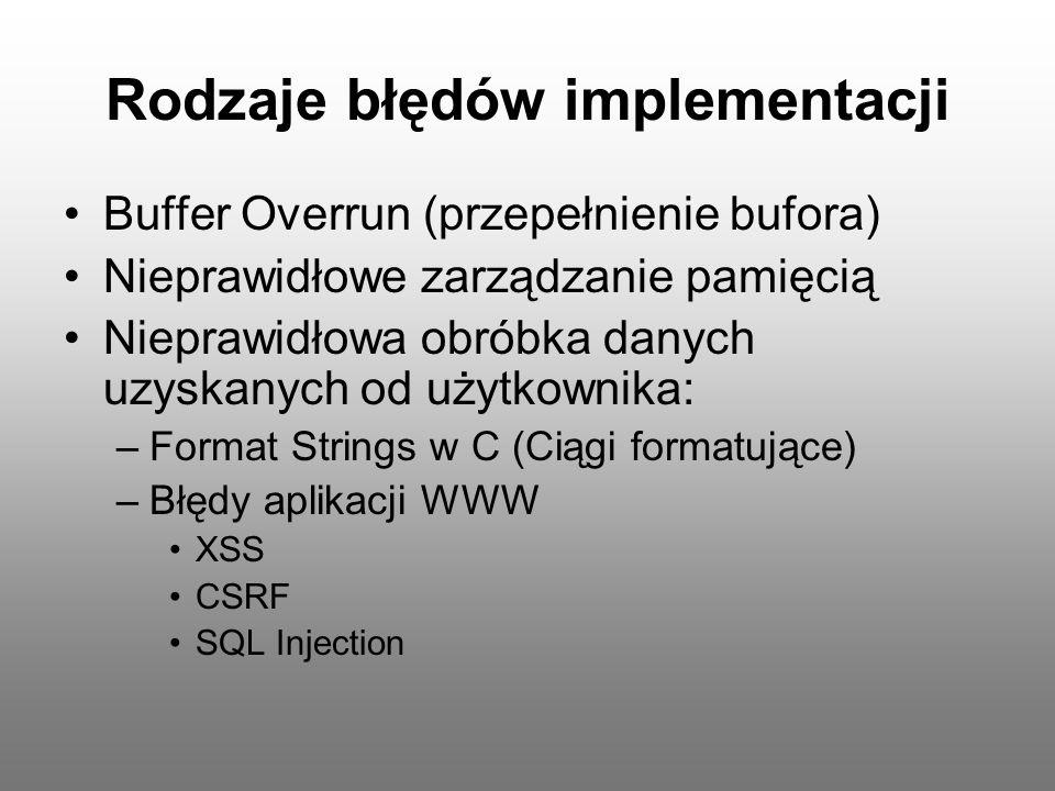 Rodzaje błędów implementacji