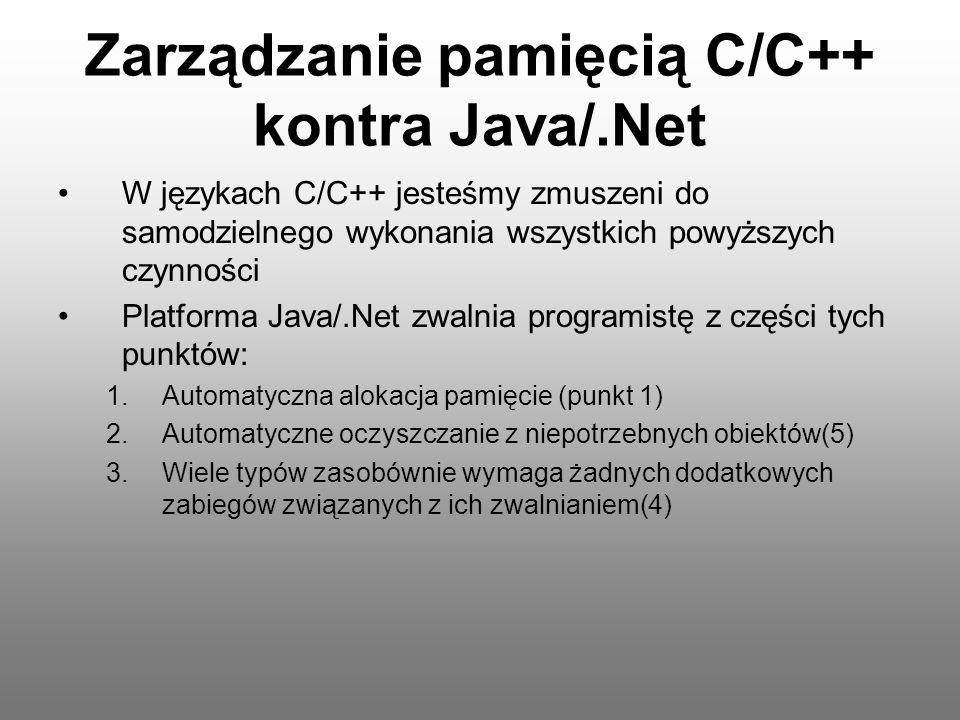 Zarządzanie pamięcią C/C++ kontra Java/.Net