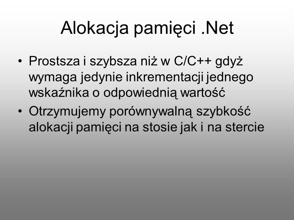 Alokacja pamięci .Net Prostsza i szybsza niż w C/C++ gdyż wymaga jedynie inkrementacji jednego wskaźnika o odpowiednią wartość.