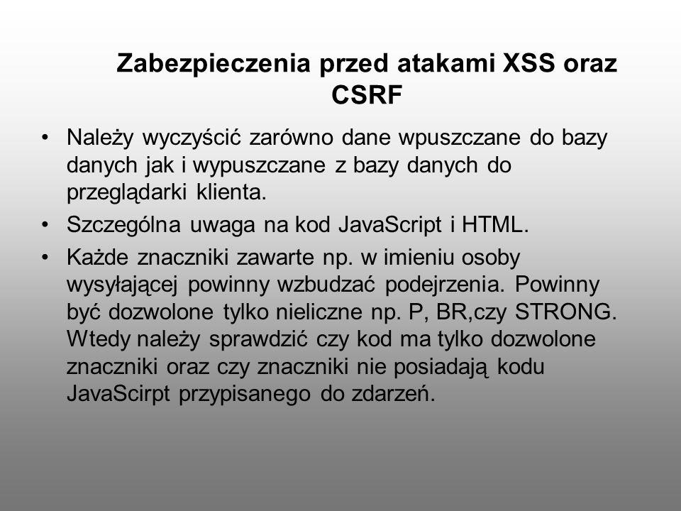 Zabezpieczenia przed atakami XSS oraz CSRF