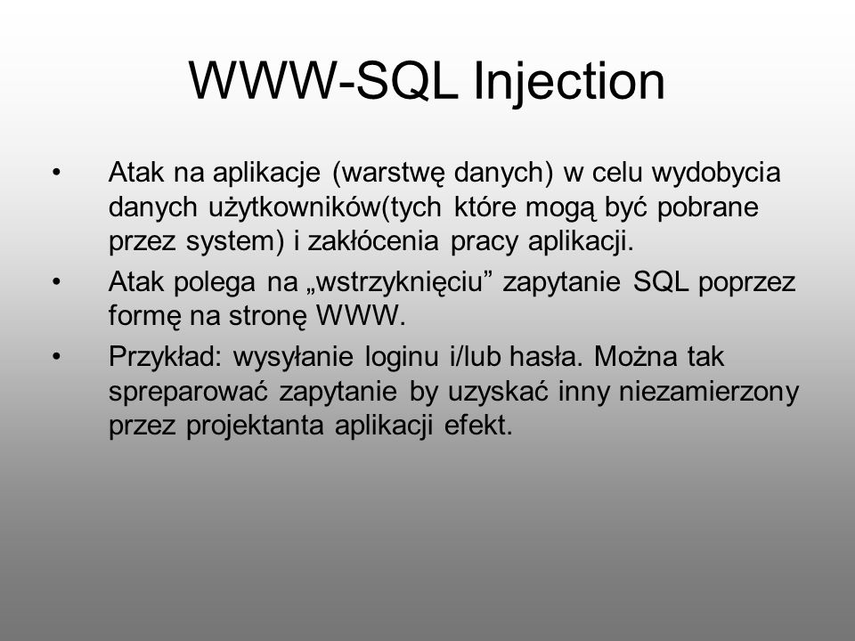 WWW-SQL Injection