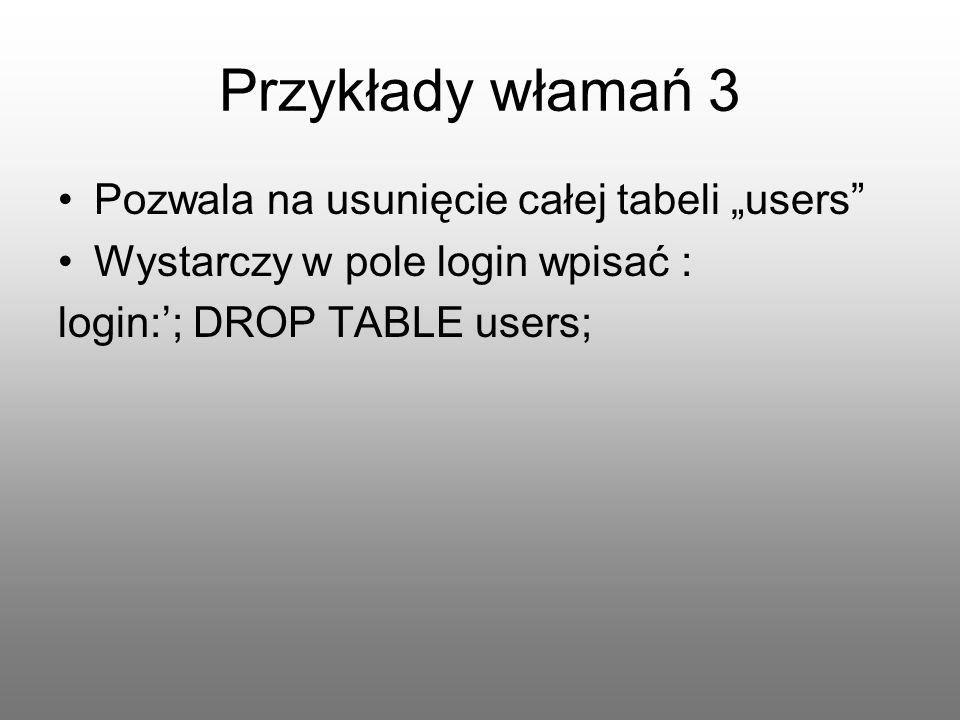 """Przykłady włamań 3 Pozwala na usunięcie całej tabeli """"users"""