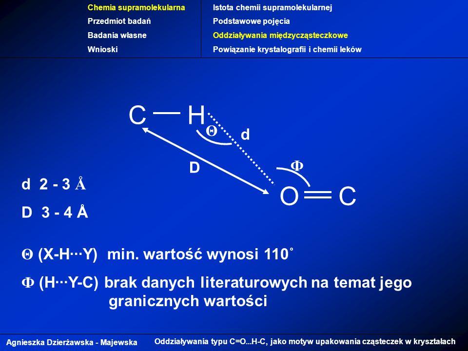 C H O Θ d Ф D d 2 - 3 Å D 3 - 4 Å Θ (X-H∙∙∙Y) min. wartość wynosi 110˚