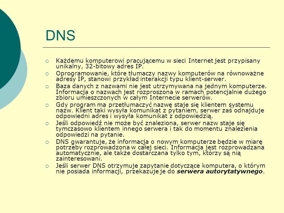 DNSKażdemu komputerowi pracującemu w sieci Internet jest przypisany unikalny, 32-bitowy adres IP.