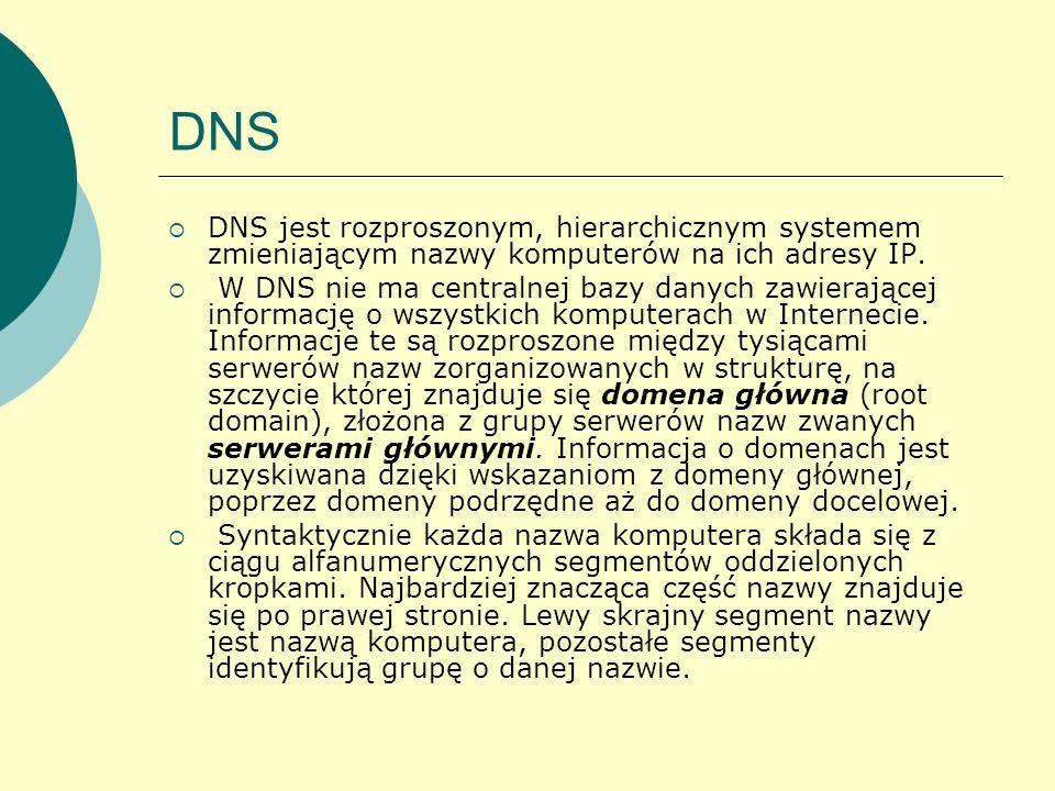 DNS DNS jest rozproszonym, hierarchicznym systemem zmieniającym nazwy komputerów na ich adresy IP.
