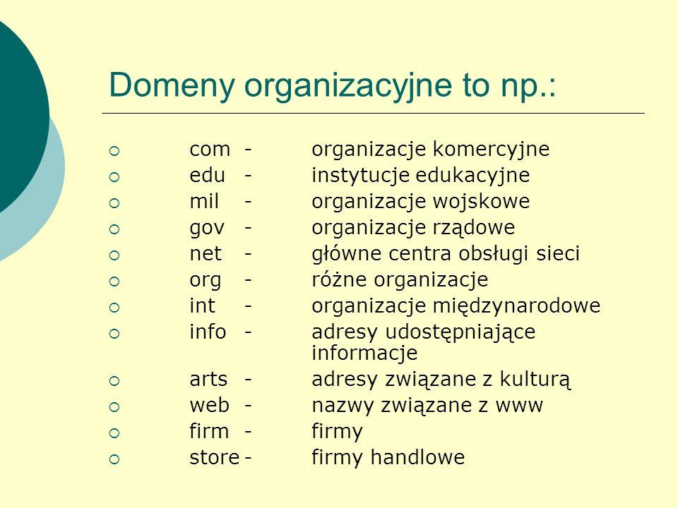 Domeny organizacyjne to np.:
