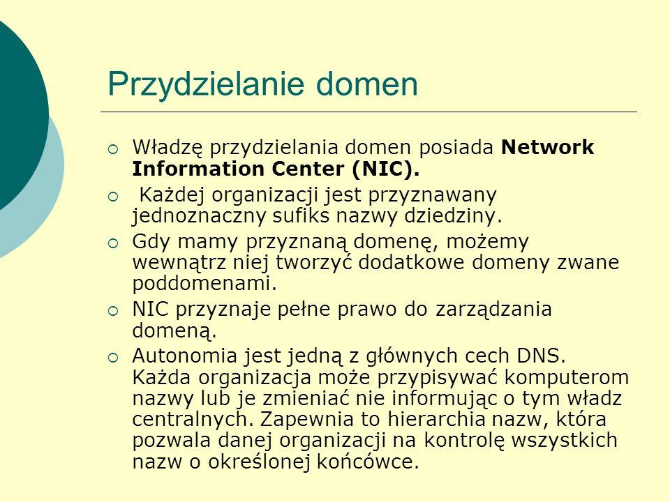 Przydzielanie domen Władzę przydzielania domen posiada Network Information Center (NIC).
