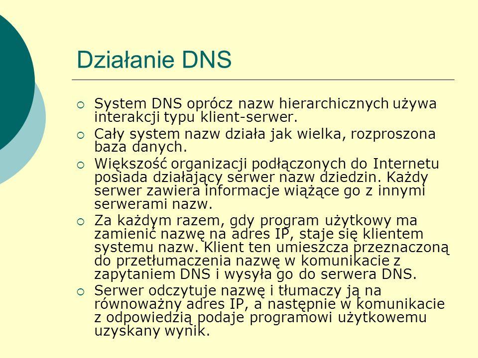 Działanie DNSSystem DNS oprócz nazw hierarchicznych używa interakcji typu klient-serwer.