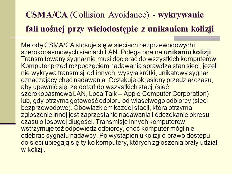 CSMA/CA (Collision Avoidance) - wykrywanie fali nośnej przy wielodostępie z unikaniem kolizji