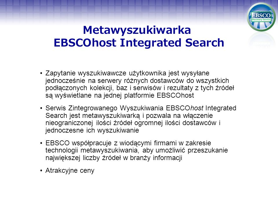 Metawyszukiwarka EBSCOhost Integrated Search