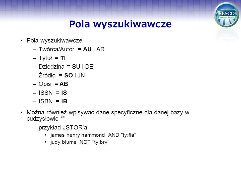 Pola wyszukiwawcze Pola wyszukiwawcze Twórca/Autor = AU i AR
