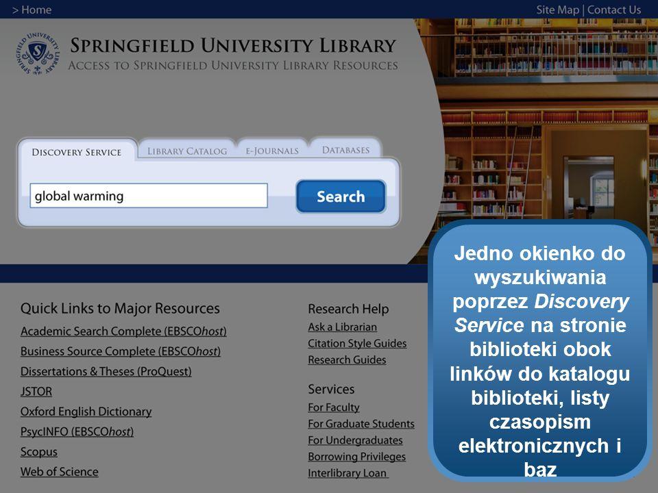 Jedno okienko do wyszukiwania poprzez Discovery Service na stronie biblioteki obok linków do katalogu biblioteki, listy czasopism elektronicznych i baz