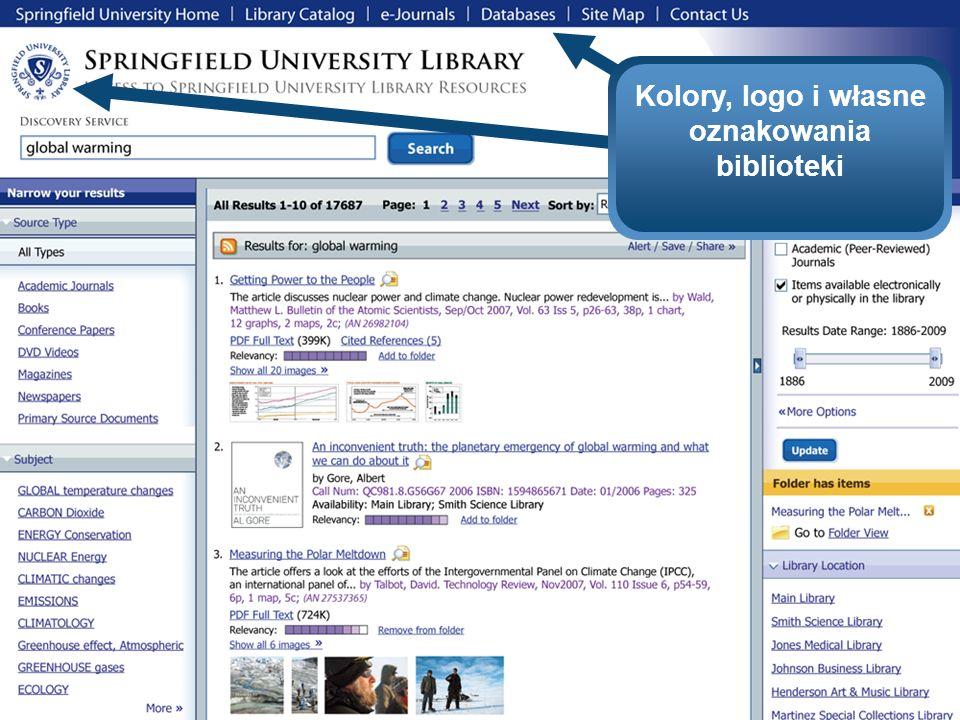 Kolory, logo i własne oznakowania biblioteki