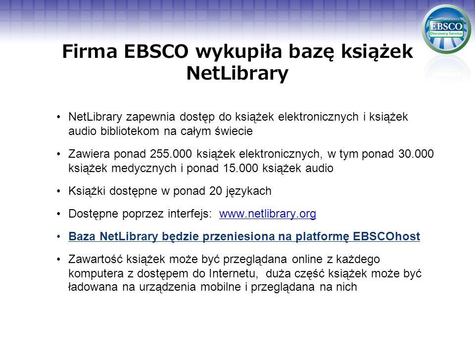 Firma EBSCO wykupiła bazę książek NetLibrary