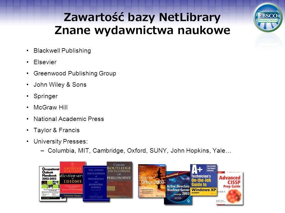 Zawartość bazy NetLibrary Znane wydawnictwa naukowe