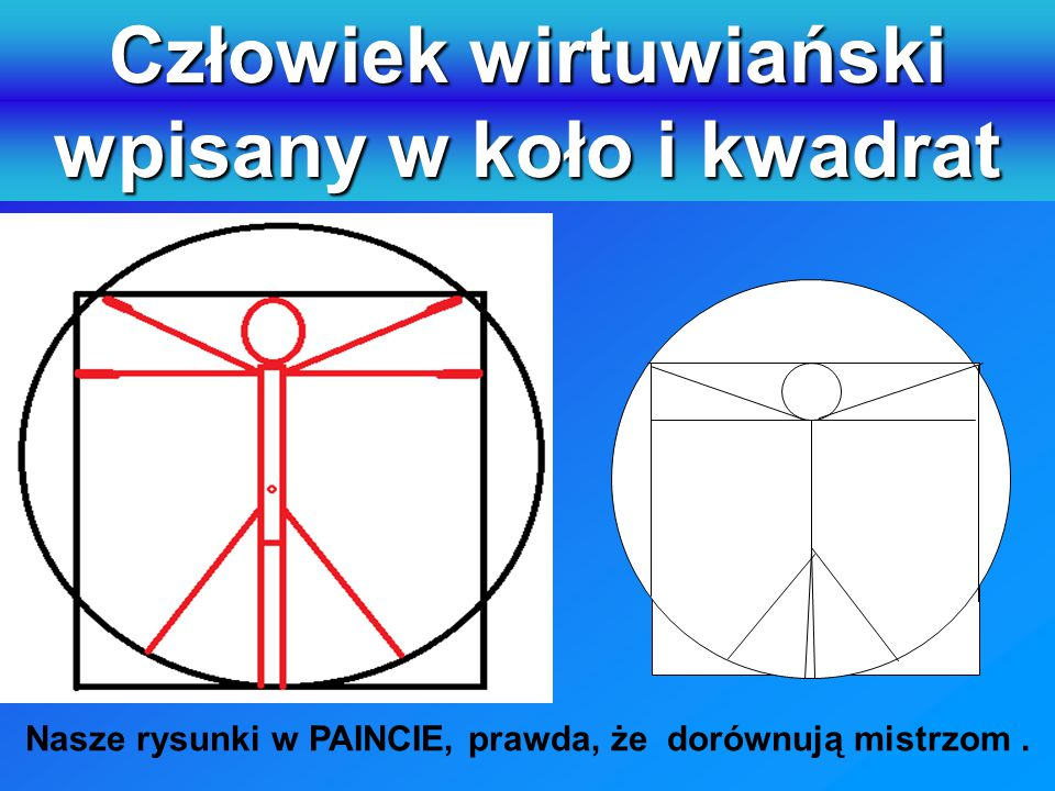 Człowiek wirtuwiański wpisany w koło i kwadrat