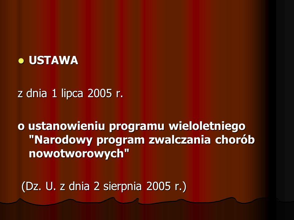 USTAWA z dnia 1 lipca 2005 r. o ustanowieniu programu wieloletniego Narodowy program zwalczania chorób nowotworowych