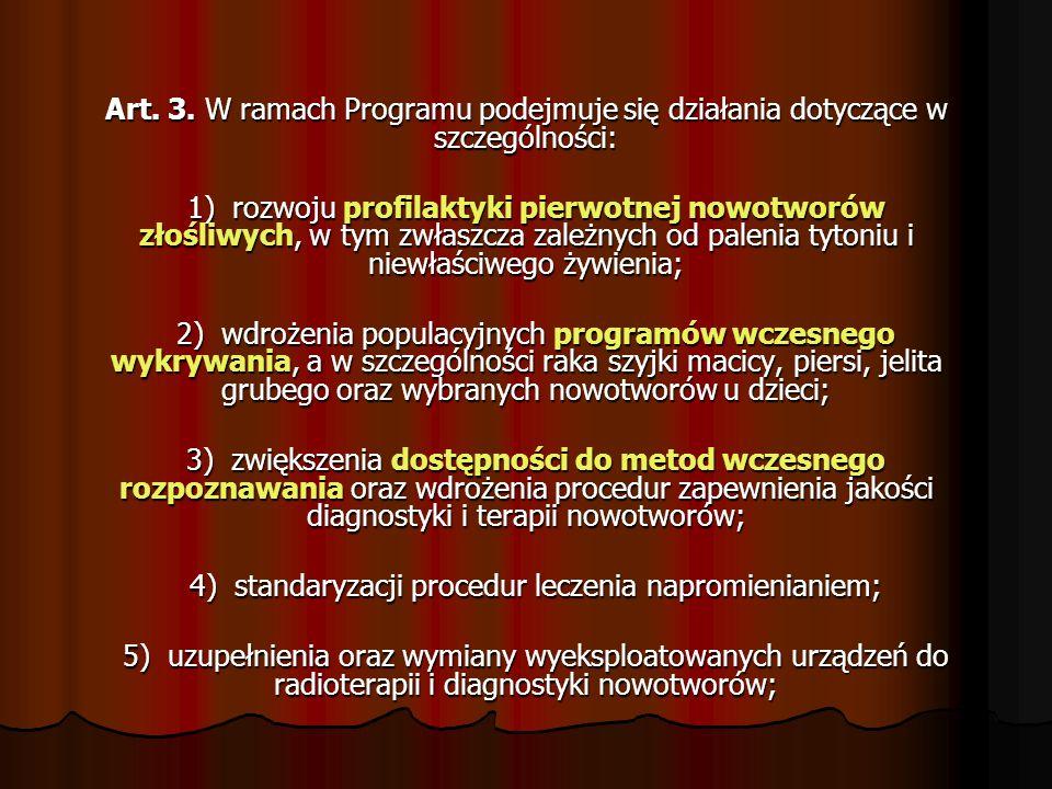 4) standaryzacji procedur leczenia napromienianiem;