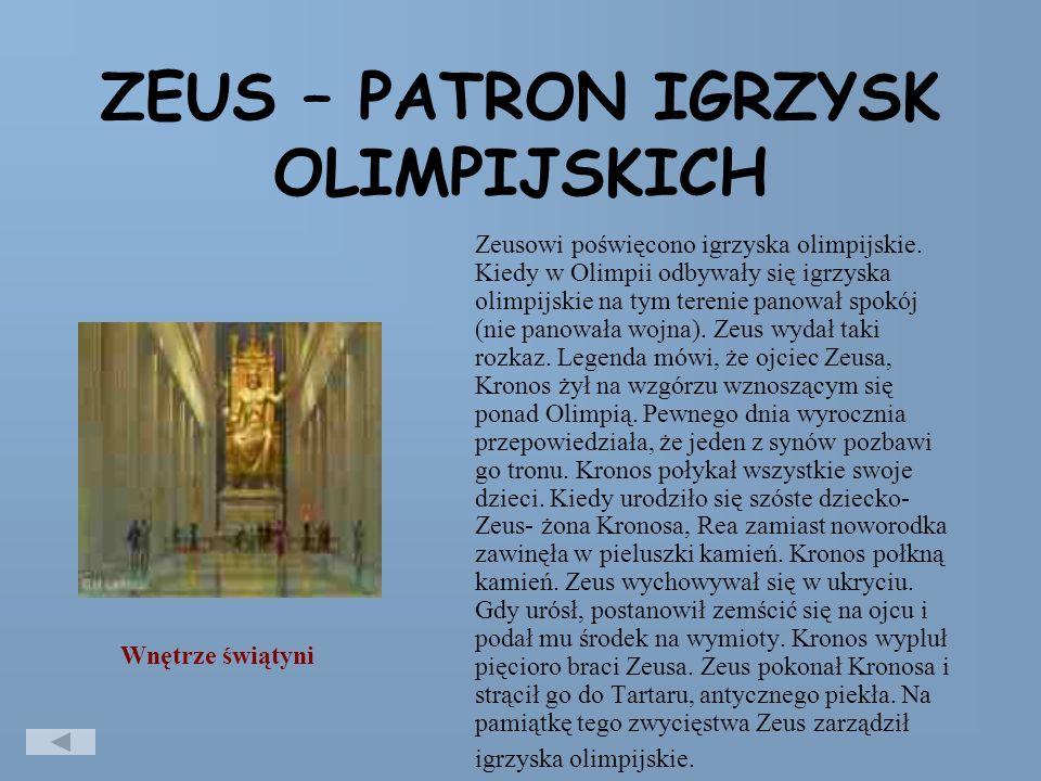 ZEUS – PATRON IGRZYSK OLIMPIJSKICH