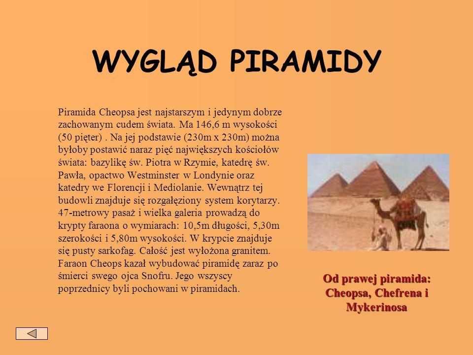 Od prawej piramida: Cheopsa, Chefrena i Mykerinosa