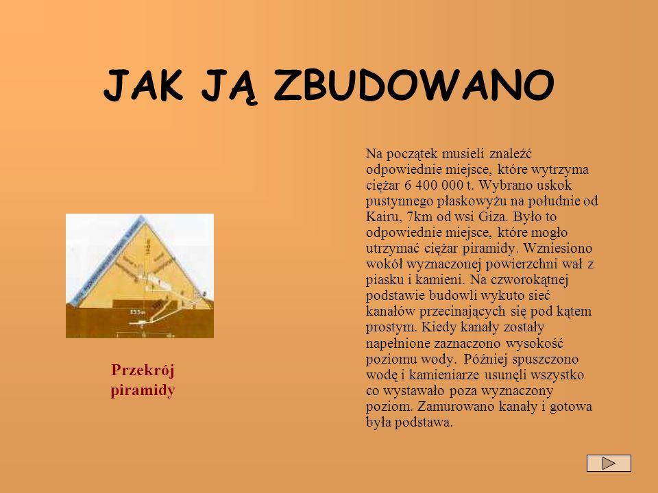 JAK JĄ ZBUDOWANO Przekrój piramidy