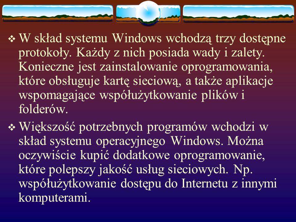 W skład systemu Windows wchodzą trzy dostępne protokoły