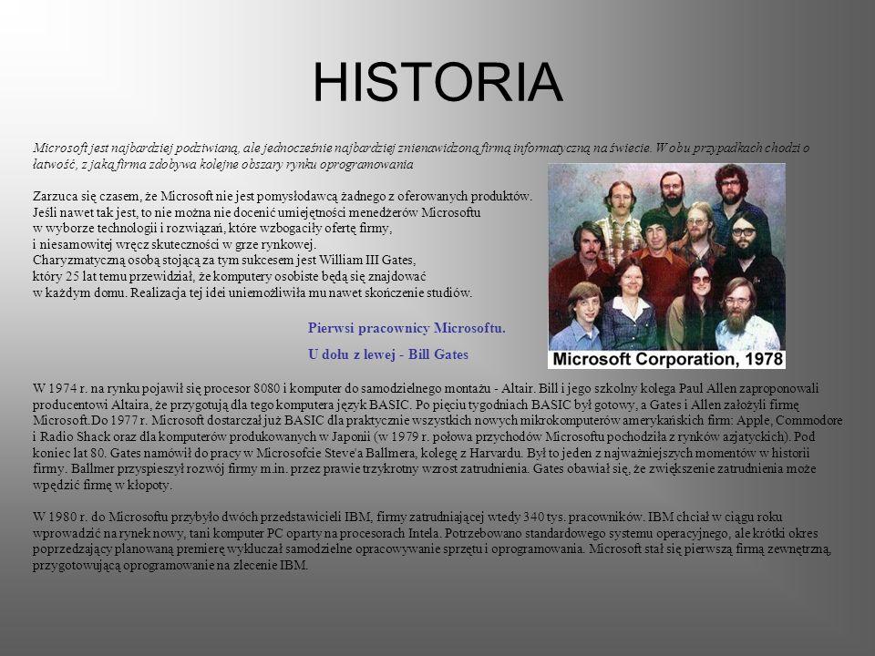 HISTORIA Pierwsi pracownicy Microsoftu. U dołu z lewej - Bill Gates