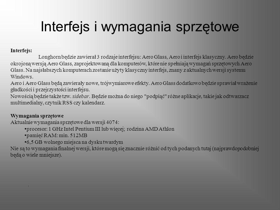 Interfejs i wymagania sprzętowe