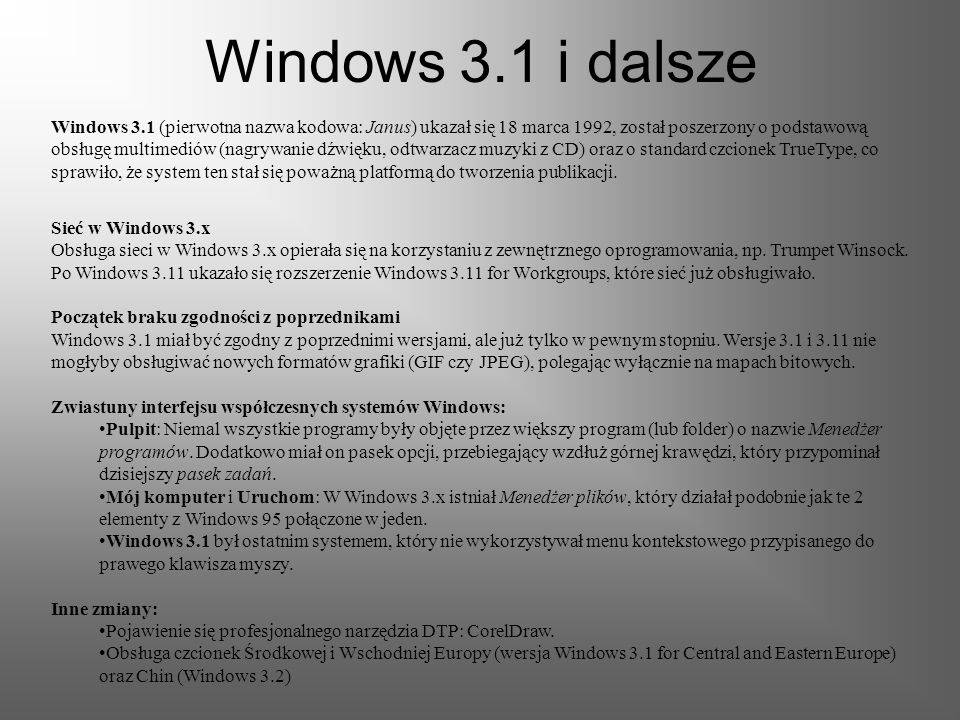 Windows 3.1 i dalsze