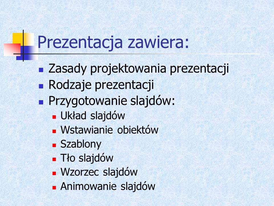 Prezentacja zawiera: Zasady projektowania prezentacji