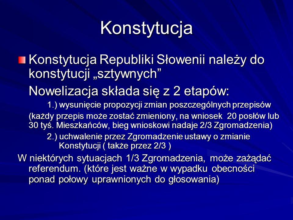 """KonstytucjaKonstytucja Republiki Słowenii należy do konstytucji """"sztywnych Nowelizacja składa się z 2 etapów:"""