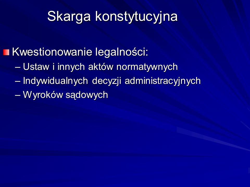 Skarga konstytucyjna Kwestionowanie legalności: