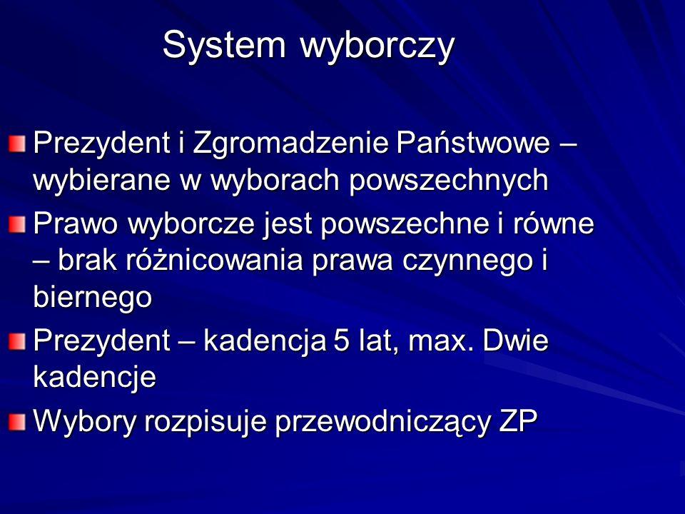 System wyborczyPrezydent i Zgromadzenie Państwowe – wybierane w wyborach powszechnych.
