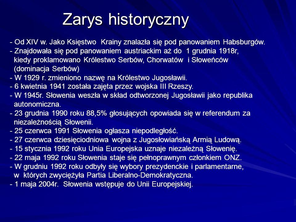 Zarys historyczny- Od XIV w. Jako Księstwo Krainy znalazła się pod panowaniem Habsburgów.