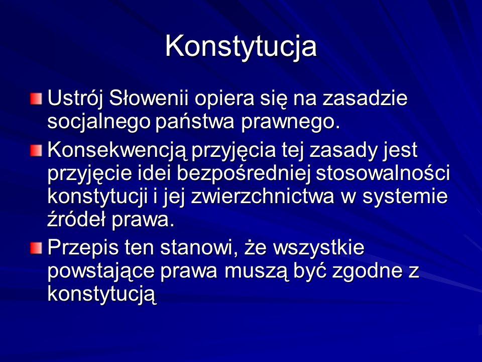 Konstytucja Ustrój Słowenii opiera się na zasadzie socjalnego państwa prawnego.