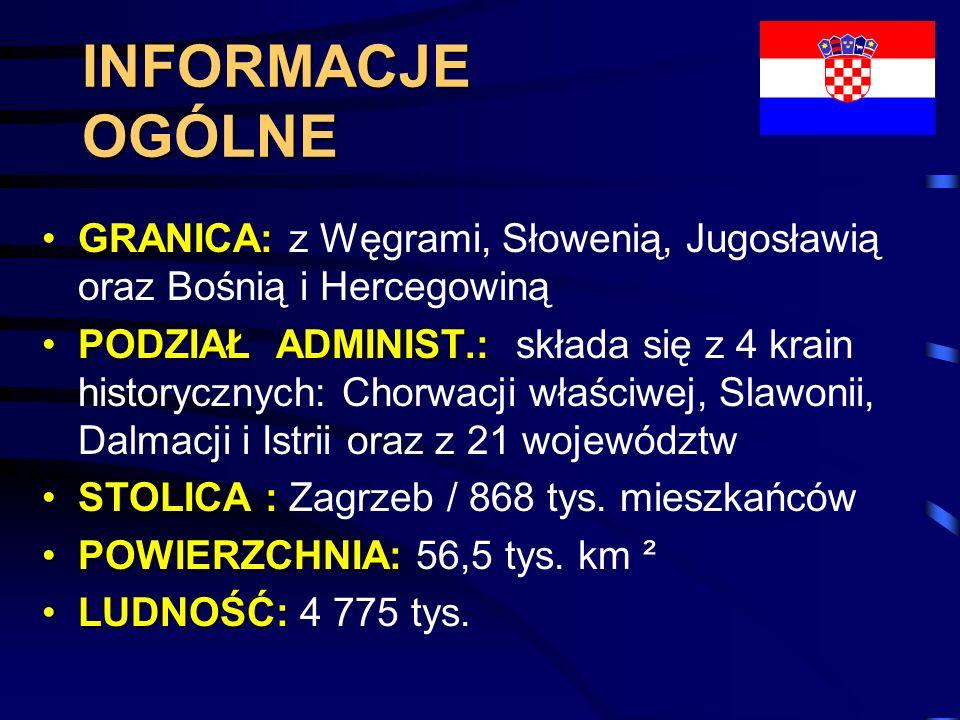 INFORMACJE OGÓLNE GRANICA: z Węgrami, Słowenią, Jugosławią oraz Bośnią i Hercegowiną.