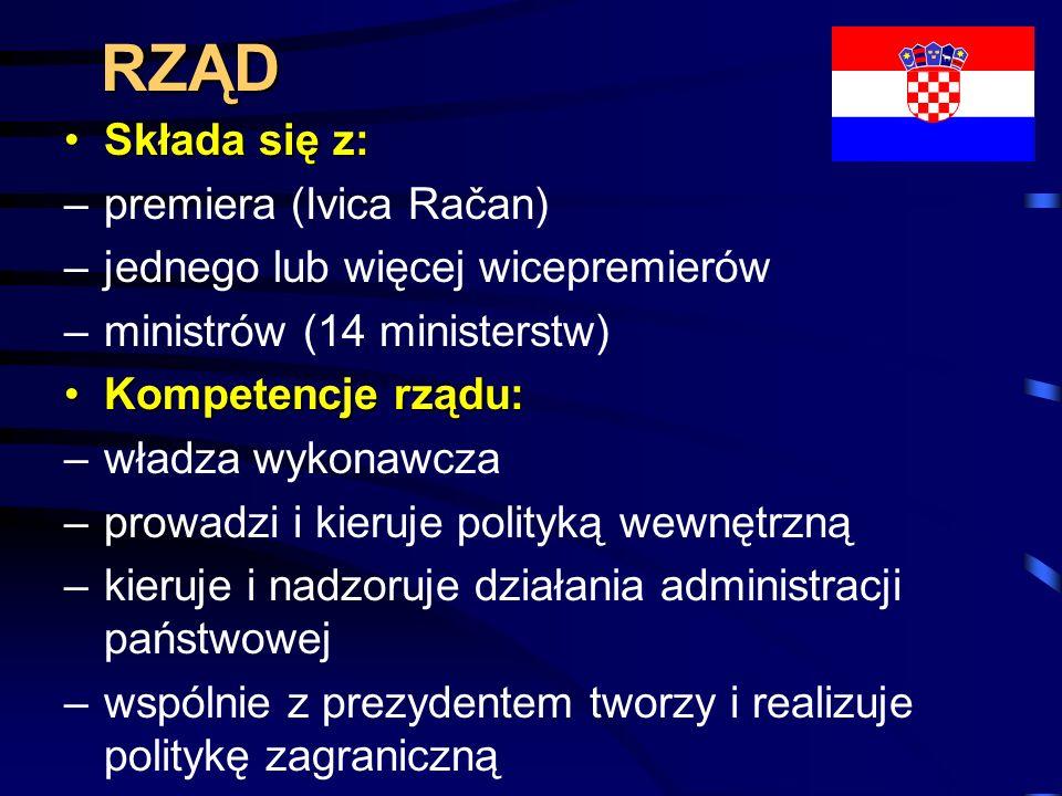 RZĄD Składa się z: premiera (Ivica Račan)