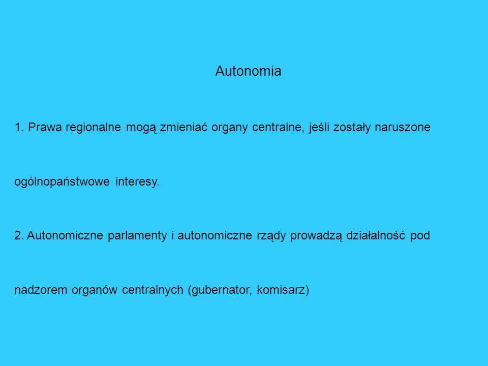 Autonomia1. Prawa regionalne mogą zmieniać organy centralne, jeśli zostały naruszone ogólnopaństwowe interesy.