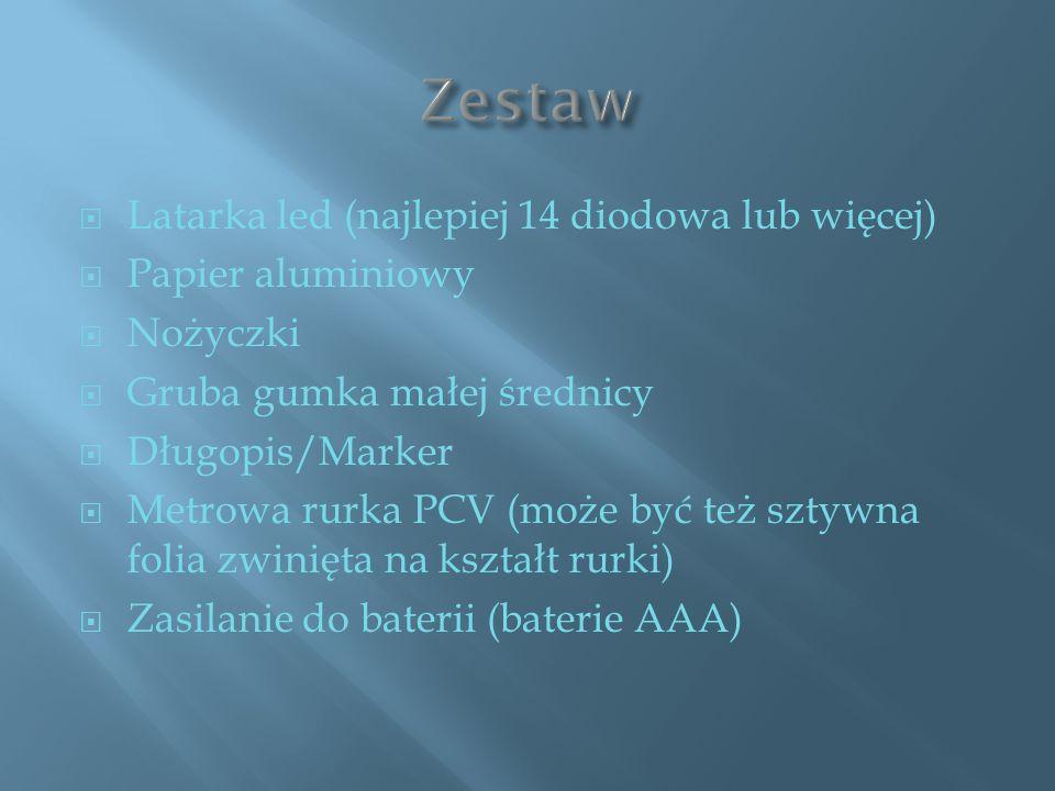 Zestaw Latarka led (najlepiej 14 diodowa lub więcej) Papier aluminiowy