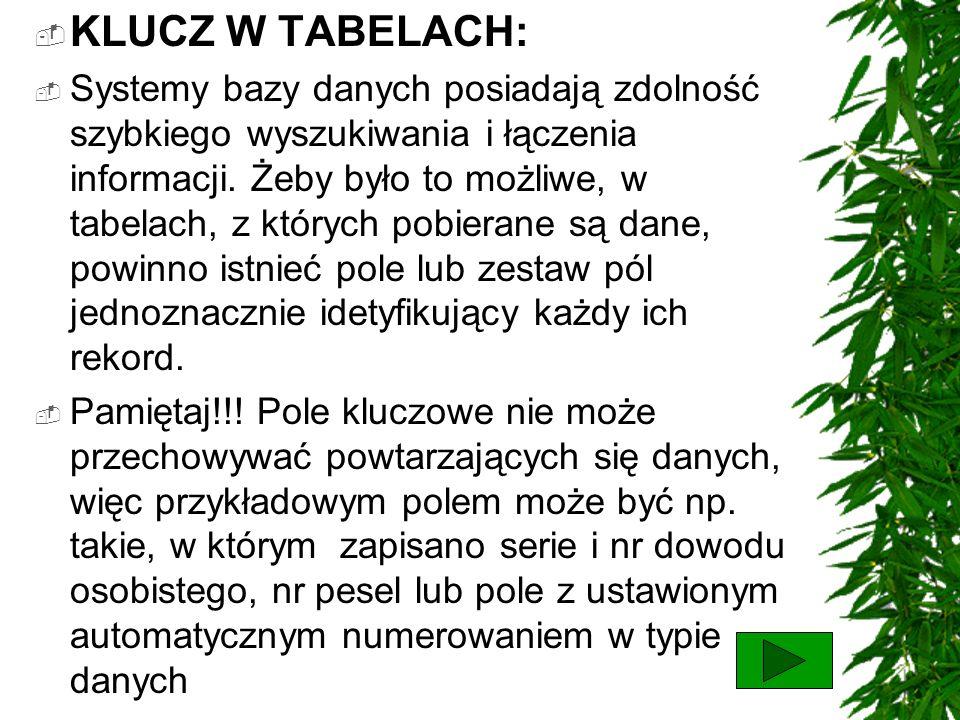 KLUCZ W TABELACH: