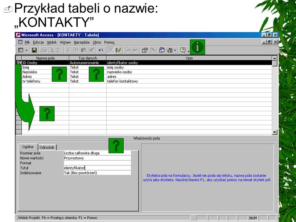 """Przykład tabeli o nazwie: """"KONTAKTY"""
