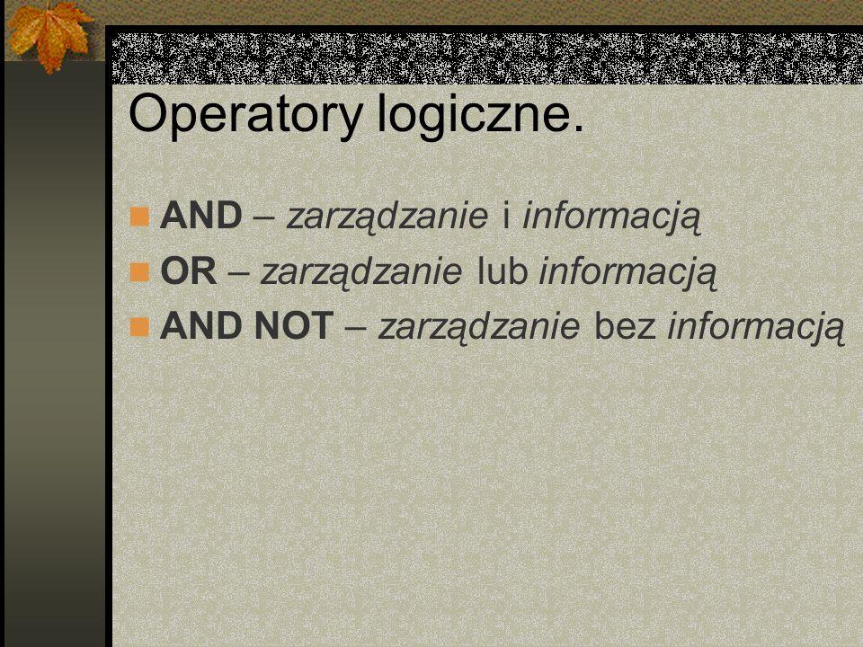 Operatory logiczne. AND – zarządzanie i informacją