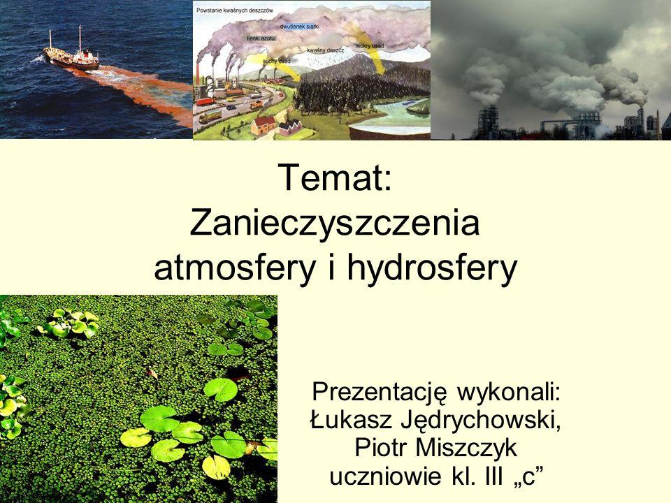 Temat: Zanieczyszczenia atmosfery i hydrosfery