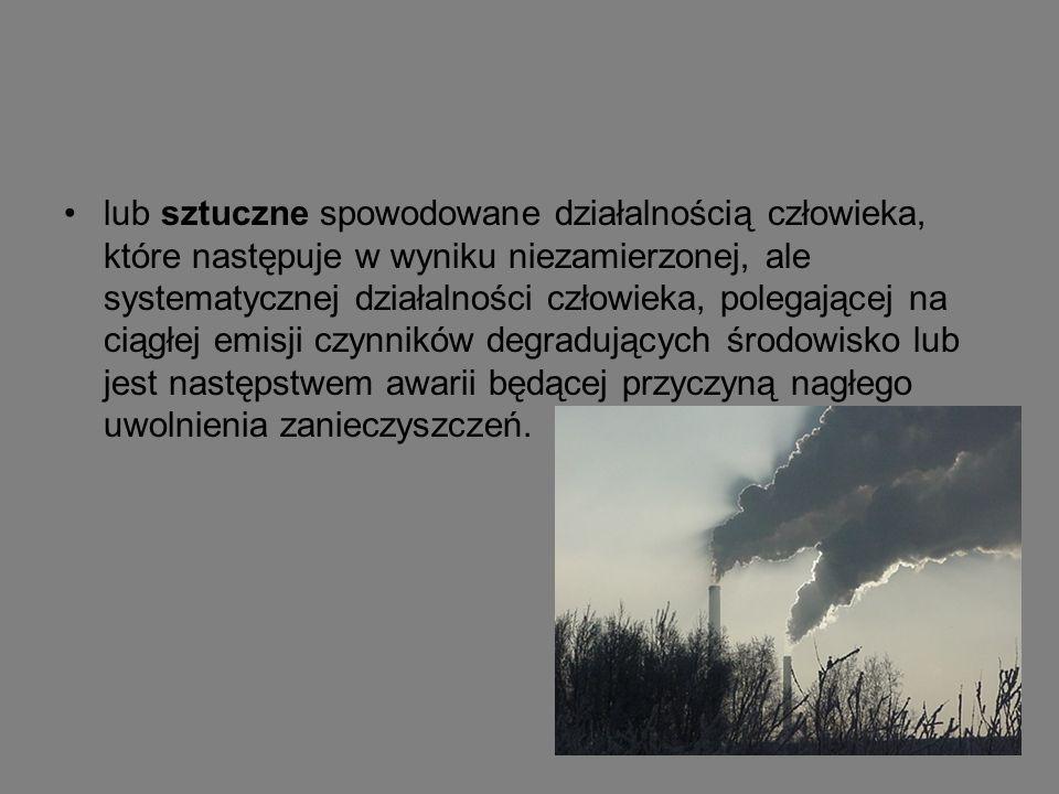 lub sztuczne spowodowane działalnością człowieka, które następuje w wyniku niezamierzonej, ale systematycznej działalności człowieka, polegającej na ciągłej emisji czynników degradujących środowisko lub jest następstwem awarii będącej przyczyną nagłego uwolnienia zanieczyszczeń.