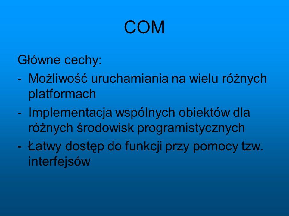 COM Główne cechy: Możliwość uruchamiania na wielu różnych platformach