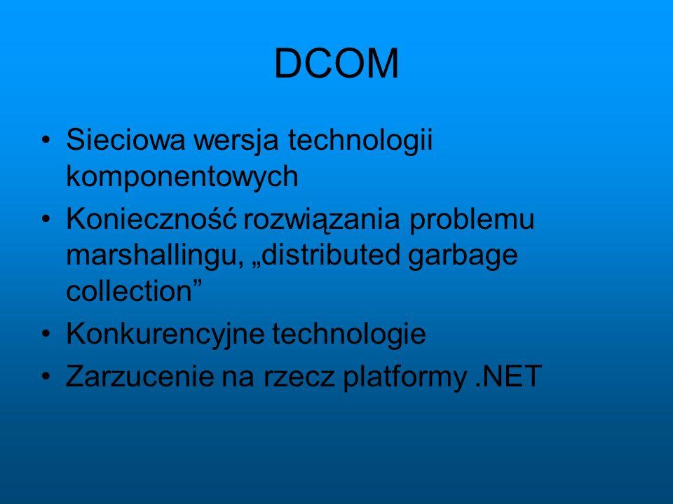 DCOM Sieciowa wersja technologii komponentowych